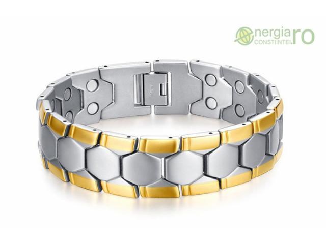 Bratara Magnetica din INOX poleita cu aur de 18k - 1/3