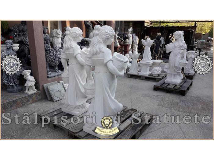Statueta domnita cu cosulete din beton model S23. - 4/5