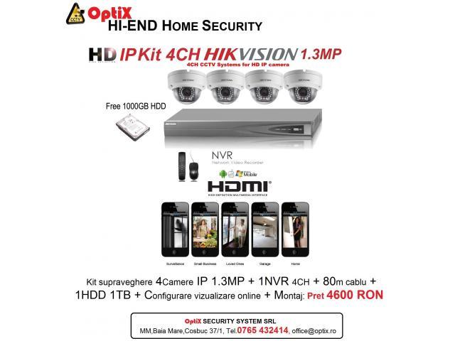 Kit  4CAMERE IP HD HIKVISION 1.3MP cu Montaj inclus - 1/1