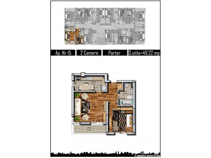 Apartament 2 camere, 49 mp, decom, Parter, Militari Auchan - 3/4