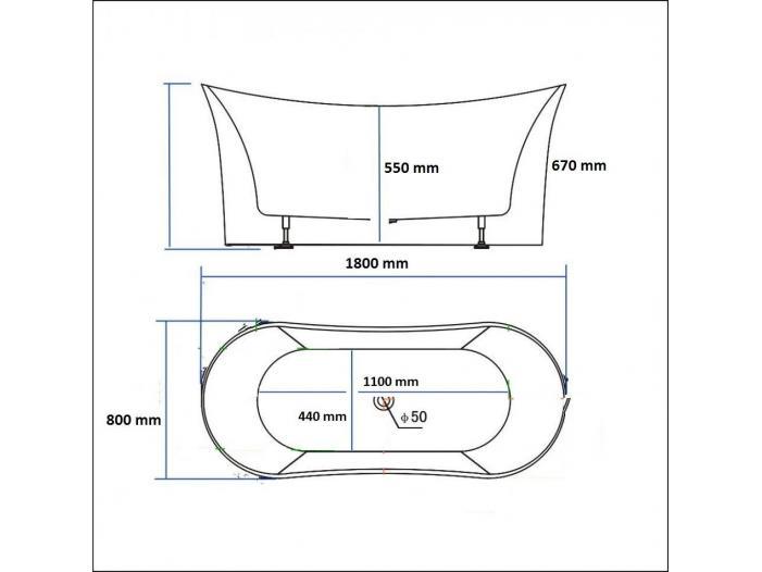 Cada baie compozit freestanding tip insula - 3/3