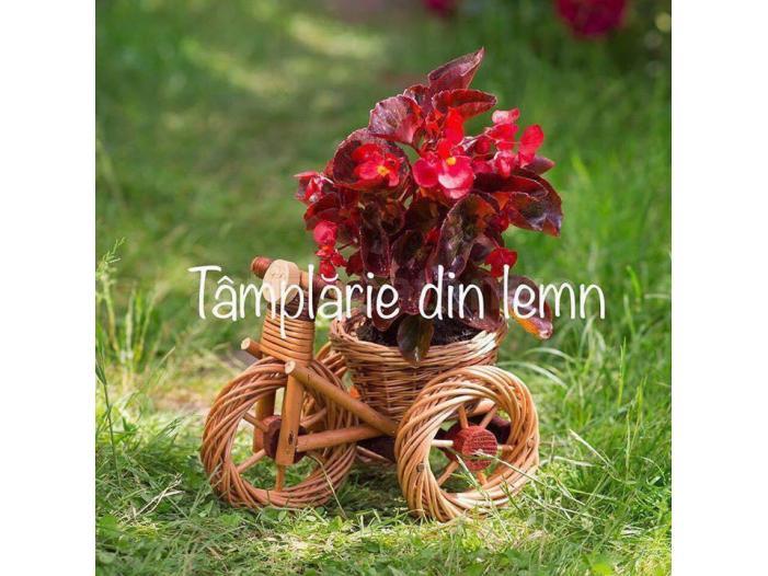 Suport flori Bicicleta si tractor rustice, din rachita - 1/5