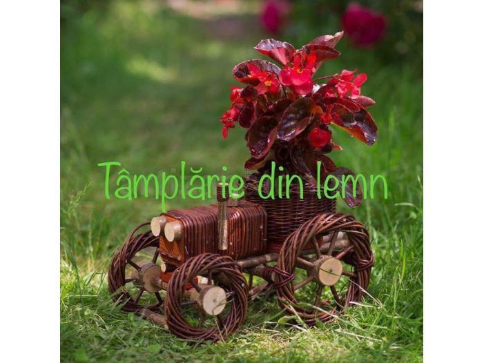 Suport flori Bicicleta si tractor rustice, din rachita - 2/5