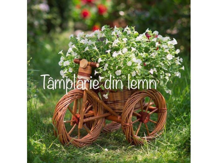 Suport flori Bicicleta si tractor rustice, din rachita - 3/5
