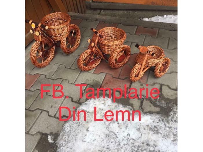 Suport flori Bicicleta si tractor rustice, din rachita - 5/5