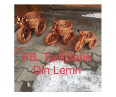 Suport flori Bicicleta si tractor rustice, din rachita - Poza 5/5
