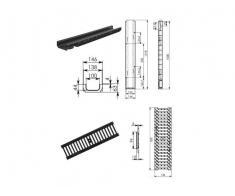 Kit: rigola PP-HD + gratar fonta DN100 H63, clasa C250 Drine