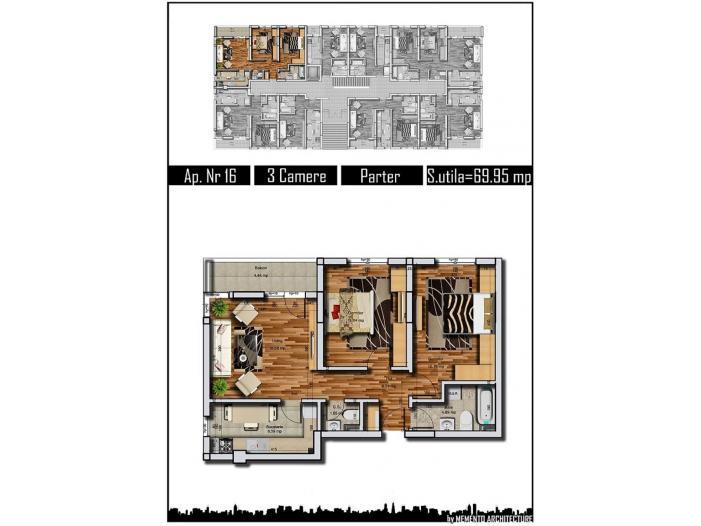 Apartament parter 3 camere 70mp Militari  Rezervelor - 2/5