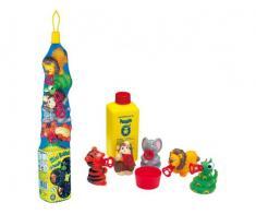 Baloane de sapun 5 figurine animale Safari + 250ml solutie baloane de sapun Pustefix