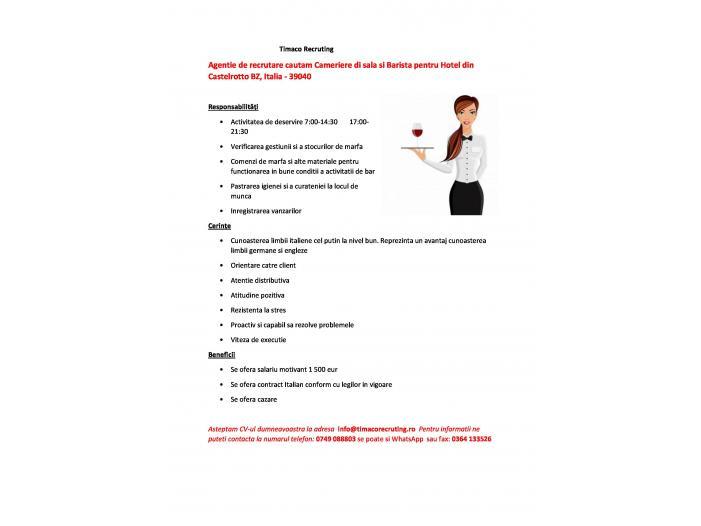 Agentie de recrutare cautam Cameriere di sala si Barista pentru Hotel din Castelrotto - 1/1