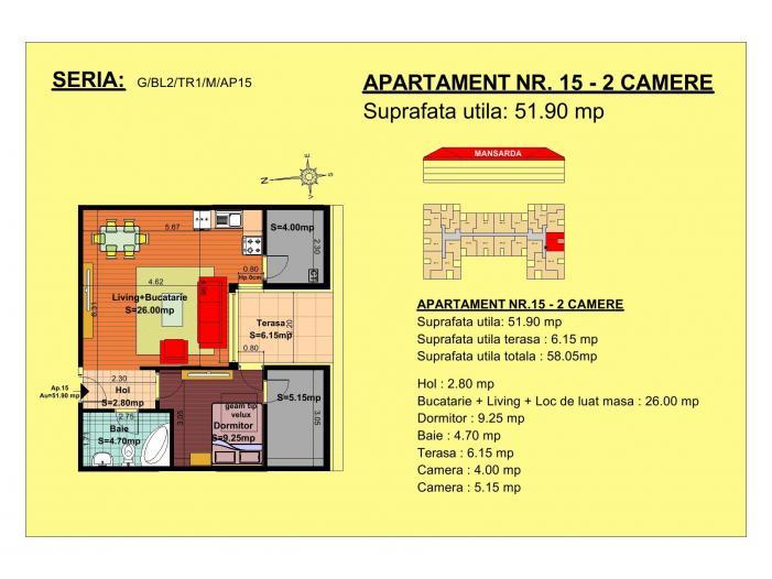 Vand apartament 2 camere - 1/1