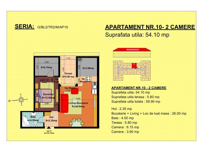 Vand apartament 2 camere, mansarda, zona Tractorul-Brasov - 1/3
