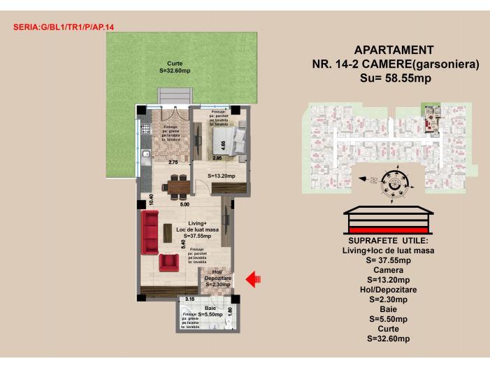 Vand apartament 2 camere, parter, zona Tractorul-Brasov - 1/1