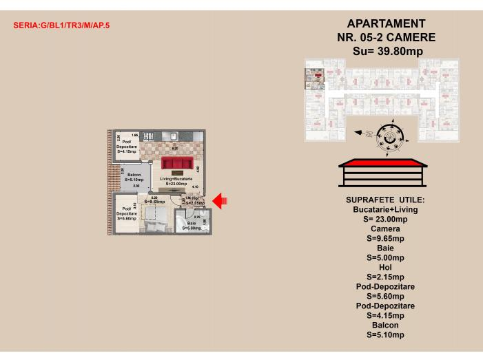 Vand  apartament 2 camere, zona Tractorul-Brasov - 1/1