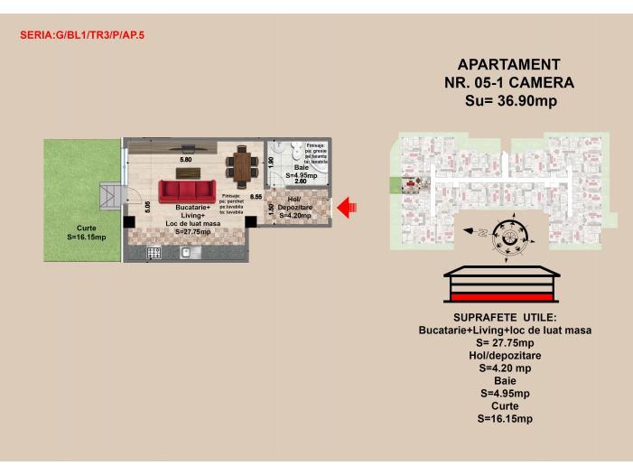 Garsoniera, Brasov, Mall Coresi, 2017, 36.09 mp - 1/1
