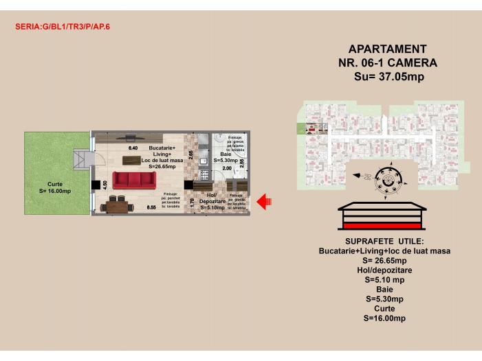 Garsoniera, Brasov, Mall Coresi, 2017, 37.06 mp - 1/3